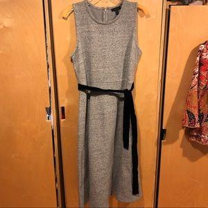 J.Crew size 10 mid-calf gray dress with tie-waist